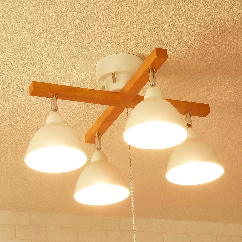 シーリングライト スポットライト ウッド クロスタイプ ブラック ホワイト ブラウン ナチュラル 北欧 LED電球対応 黒 白 木製 (ホワイト) B071HDXD2M ホワイト