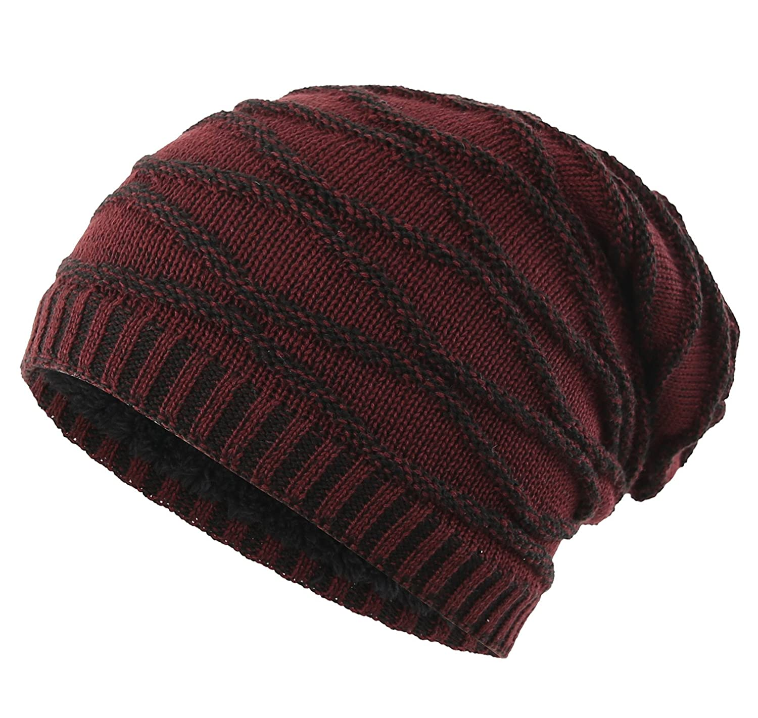 Connectyle Men s Thick Slouchy Cable Knit Beanie Hat Daily Long Skull Cap  Warm Winter Hats Watch Cap at Amazon Men s Clothing store  165113f2573