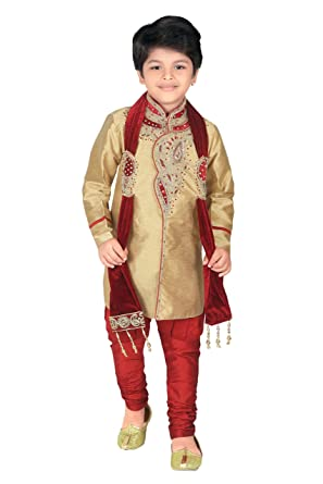 6772b428f4 Amazon.com  ahhaaaa Kids Ethnic Wear Handwork Embroidery Work Sherwani and  Breeches Set for Boys  Clothing