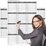 Large 2017 Yearly Wet and Dry Erase Wall Calendar, 24 x 36 Inches, 2-Sided Reversible Vertical/Horizontal by Delane, Mounting Tape Included (AWC-001) (White)