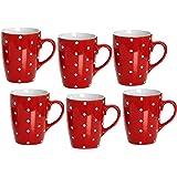 Ritzenhoff & Breker 737691 Pinto Coffee Mug Set, Set of 6, Red