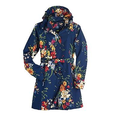 7f9810d9b7e Amazon.com  Women s Floral Rain Jacket with Detachable Hood - Belted ...
