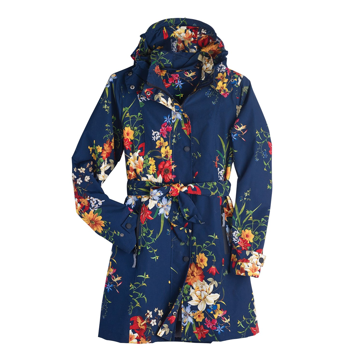 CATALOG CLASSICS Women's Floral Rain Jacket With Detachable Hood - Belted, Zip-Front Lined Coat - Size 10