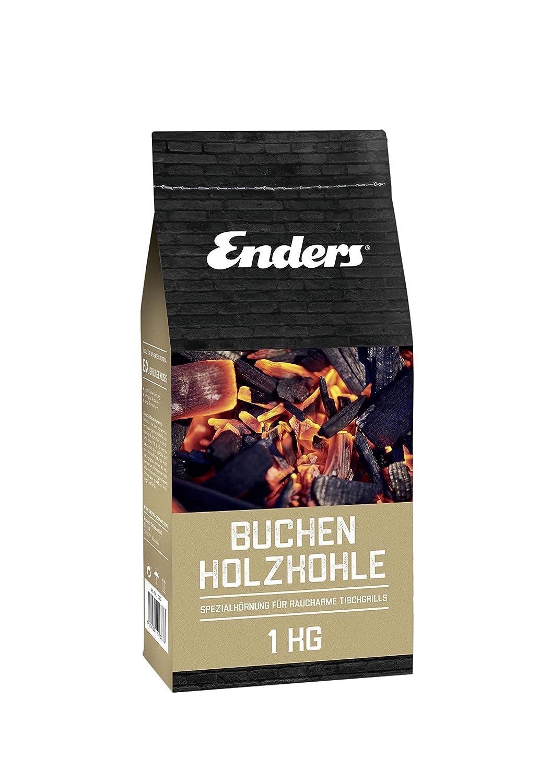 Enders Buchenholzkohle für AURORA Tischgrill, rauchfrei BBQ Grill, Buchen-Holzkohle für schnelles Anzünden, 1 KG