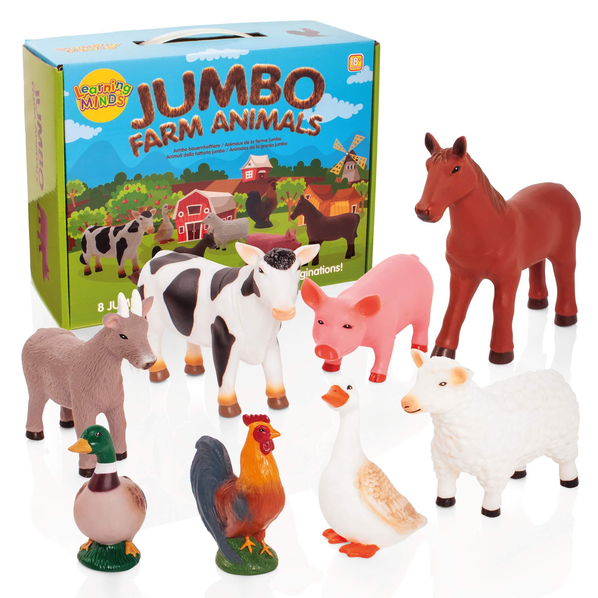 Learning Minds Jumbo Farm Animals, 8 Piece Animal Pretend Play Educational Toy Set