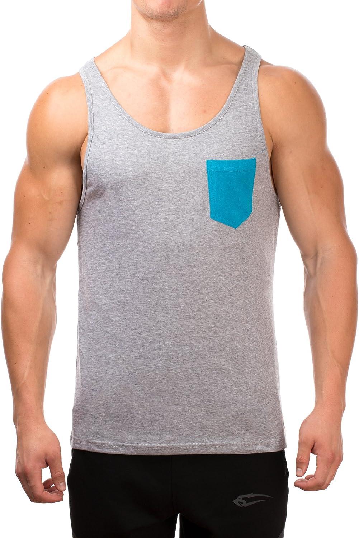 Muskelshirt ideal f/ür Sport Gym Fitness /& Bodybuilding Achselshirt Stringer Muscle Shirt Tanktop SMILODOX Tank Top Herren mit Brustasche Unterhemd