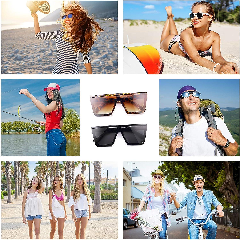2 Paia Occhiali da Sole con Lenti Siamesi Oversize Occhiali da Sole di Moda Occhiali da Sole Quadrati Unisex Tonalit/à