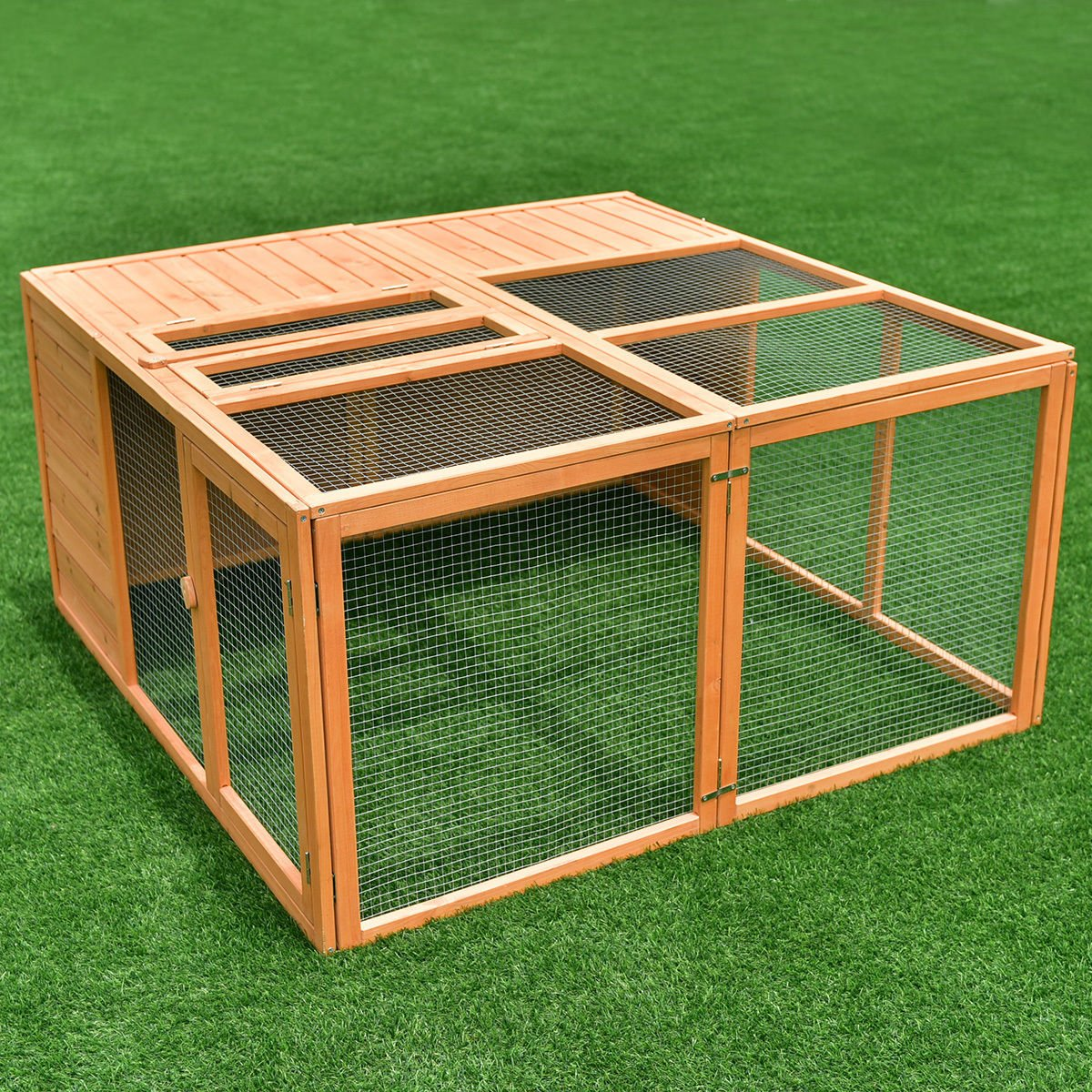 Tangkula Chicken Coop, Wooden Garden Backyard Bunny Chicken Rabbit Duck Small Animals Cage with 2 Doors,Hen House (47'') by Tangkula (Image #3)