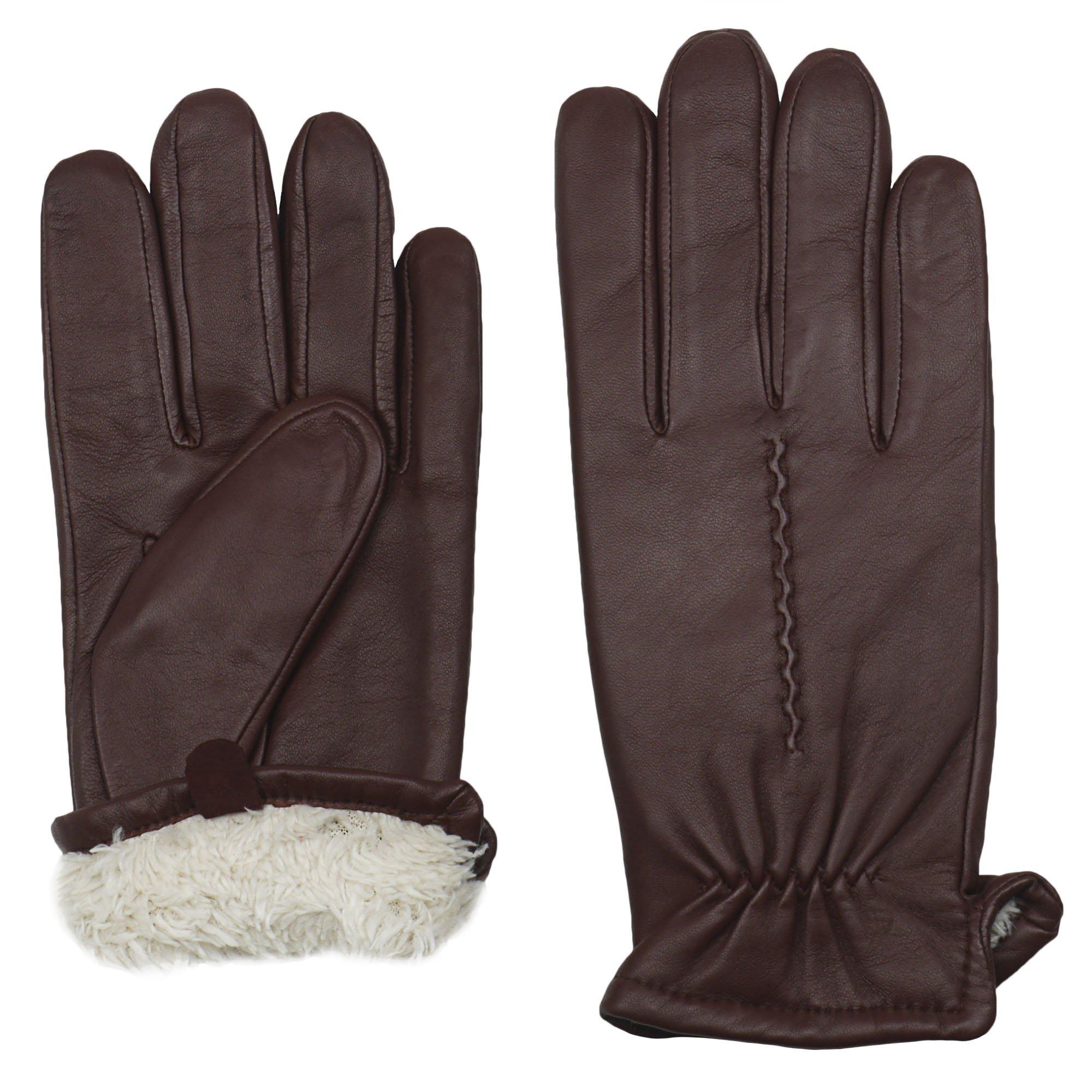 GRANDOE Men's CLYDE Premium 100% Sheepskin Leather Glove (Copper, Large)