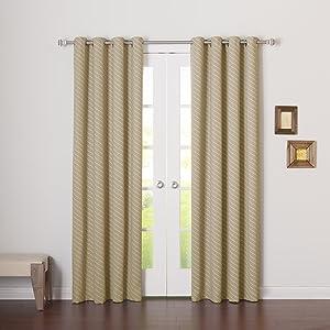 Best Home Fashion Room Darkening Diagonal Stripe Curtains – Stainless Steel Nickel Grommet Top – Ocean – 52