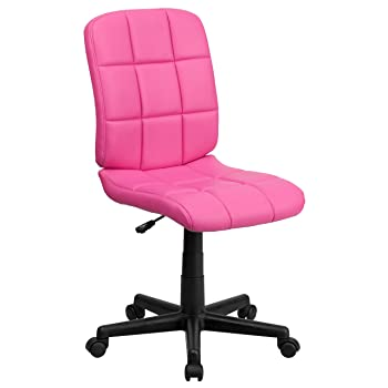 Flash Furniture Mid-Back Pink Quilted Vinyl Swivel Task Office Chair