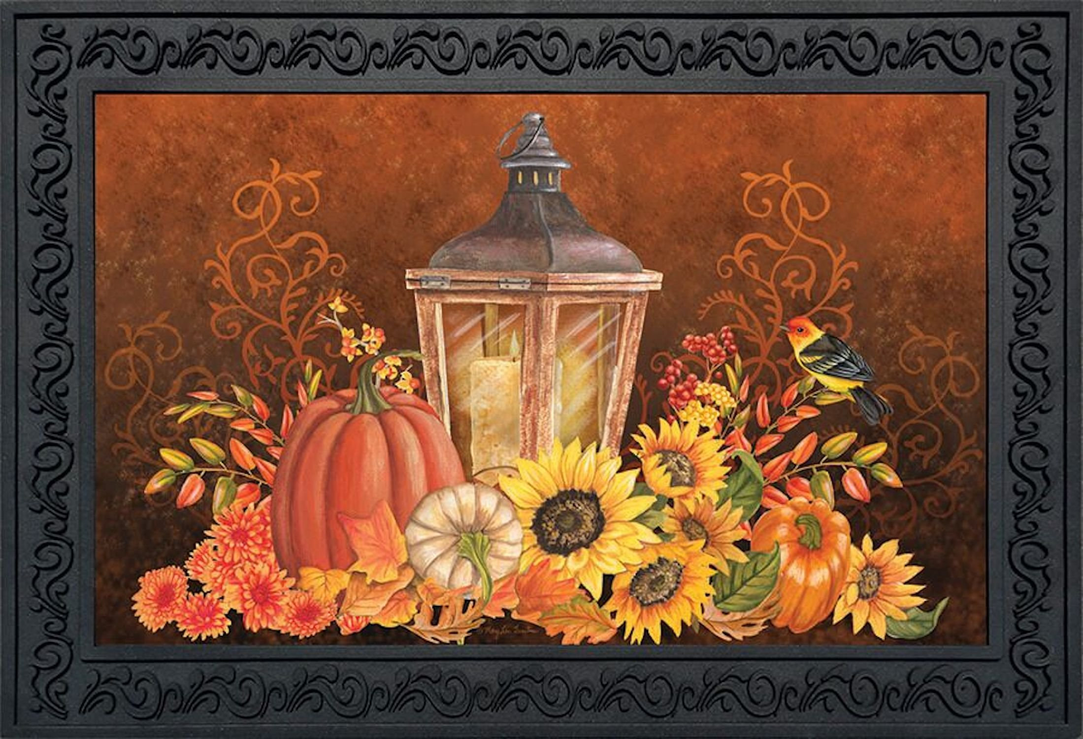 Briarwood Lane Fall Lantern Primitive Doormat Pumpkins Sunflowers Indoor Outdoor 18'' x 30'' by Briarwood Lane