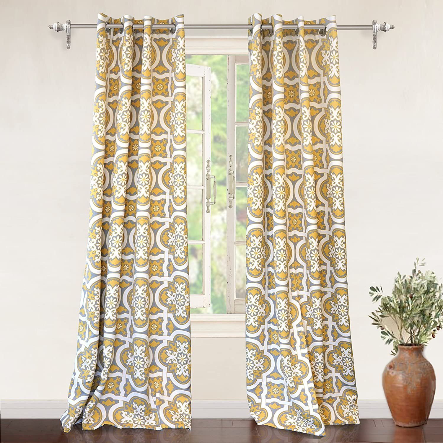 DriftAway Drift Away Floral Trellis Room Darkening Grommet Unlined Window Curtains, Set of Two Panels Yellow