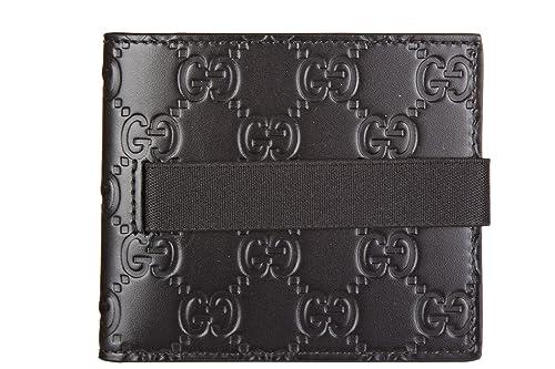 Gucci cartera billetera bifold de hombre en piel nuevo signature negro: Amazon.es: Zapatos y complementos