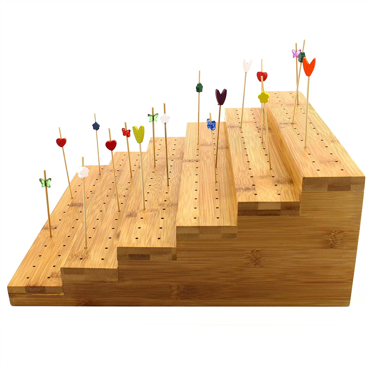 """BambooMN 5"""" Tall Bamboo Skewer Holder Food Display Step Skewers Stand w/ 180 Holes - Natural Color - 1 Piece"""