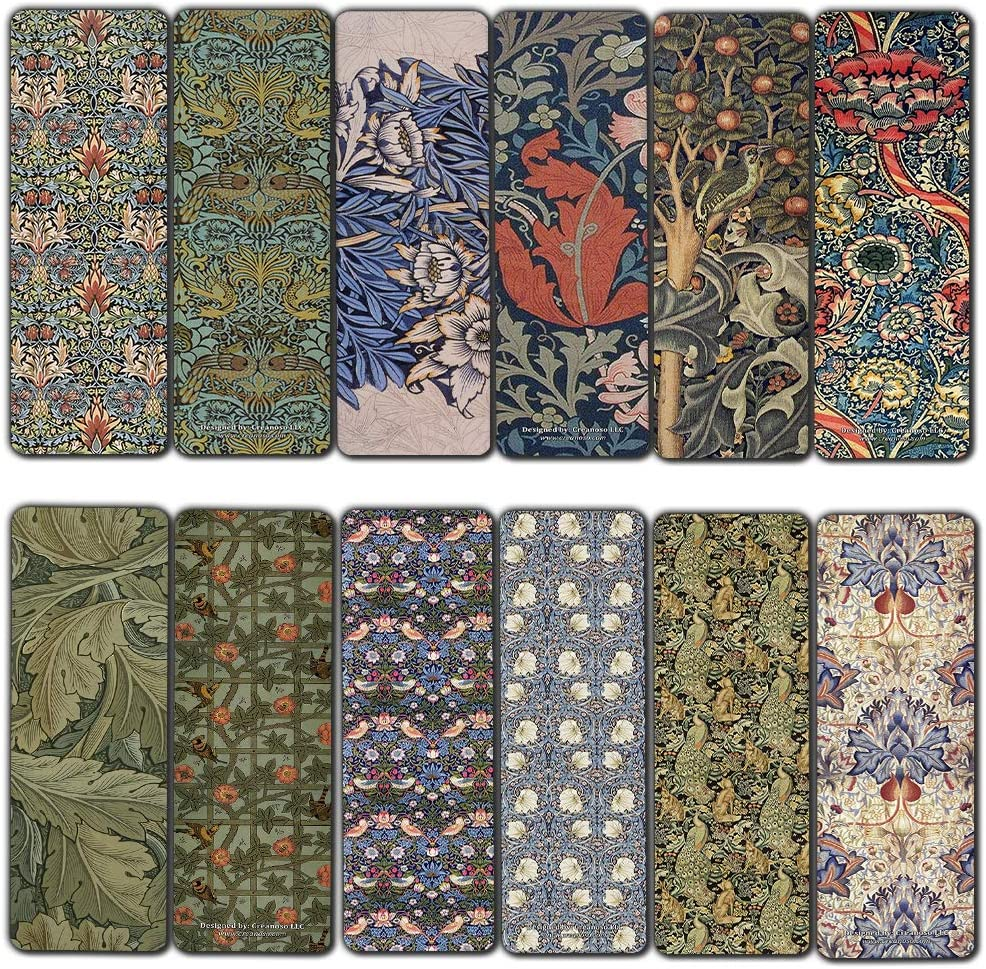 Creanoso Vintage Cards - William Morris Bookmark Cards (30-Pack) - Stocking Stuffers Gift for Bookworms, Men & Women, Teens - Unique Bookmark Collection – Cool Art Impressions Book Binder – Page Clip