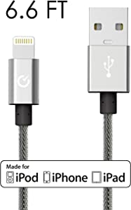 Heavy Duty Lightning Cable 6ft Silver Volts USB [Apple MFi Certified] Nylon Braided Charger for Apple iPhone 7 / 6s / 6s Plus, iPod, iPad & More (2 Meter - Exo Silver) …