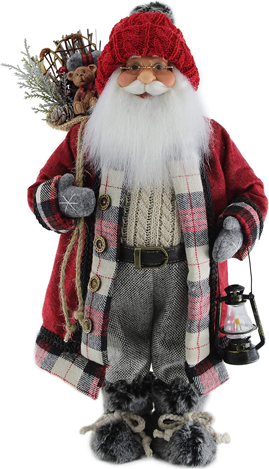"""Red Knit Cap Grey Mittens & Furry Boots 16"""" Inch Santa Claus Standing Figurine Figure Decoration 160023"""