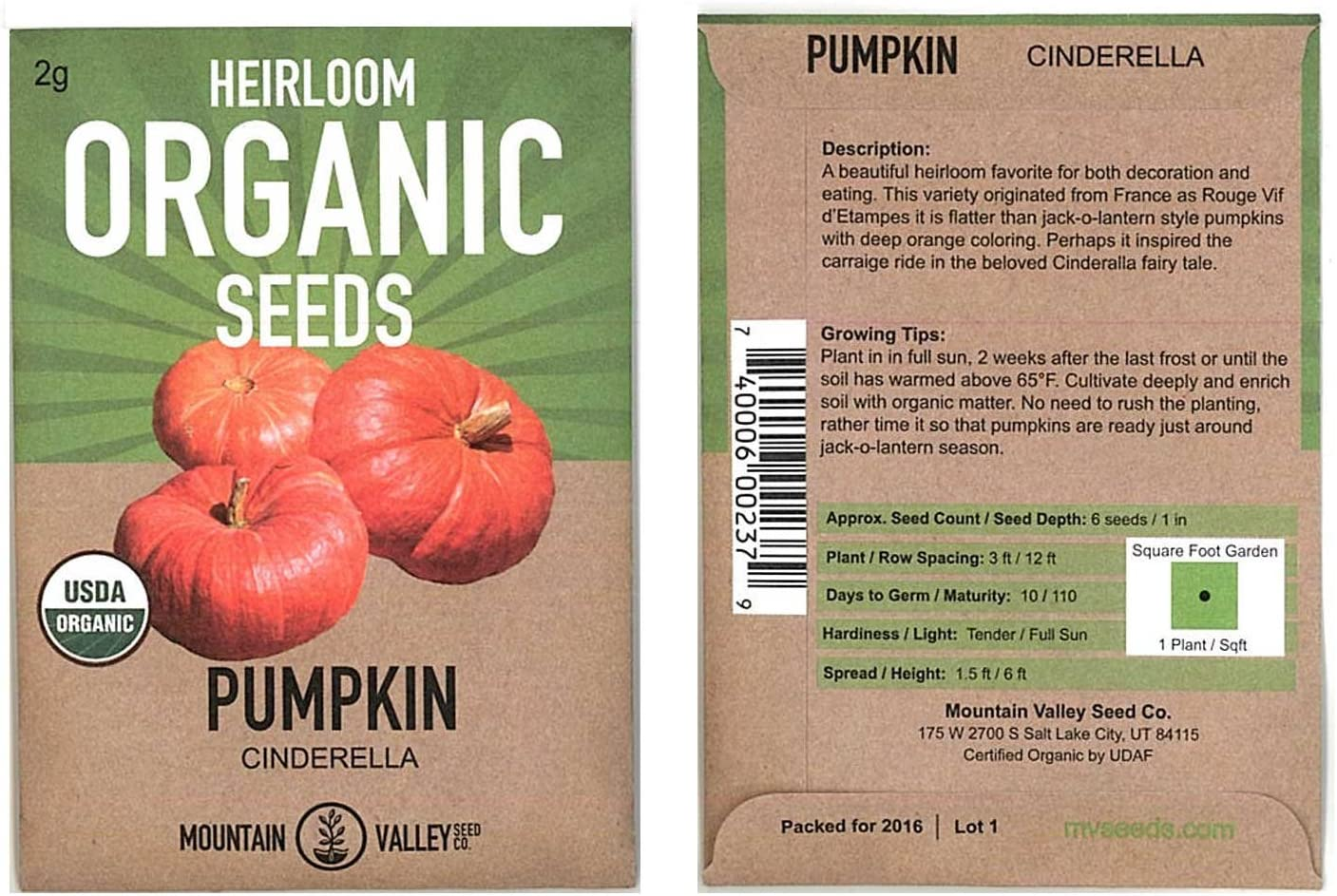 Organic Cinderella Pumpkin Garden Seeds - 2 Gram Seed Packet - French Heirloom Pumpkins - Non-GMO - Red-Orange Variety - Vegetable Gardening Seed