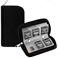 illios™ Memory Card Holder SD Card Carrying Case 8 Pages and 24 Slots Zippered Storage Bag