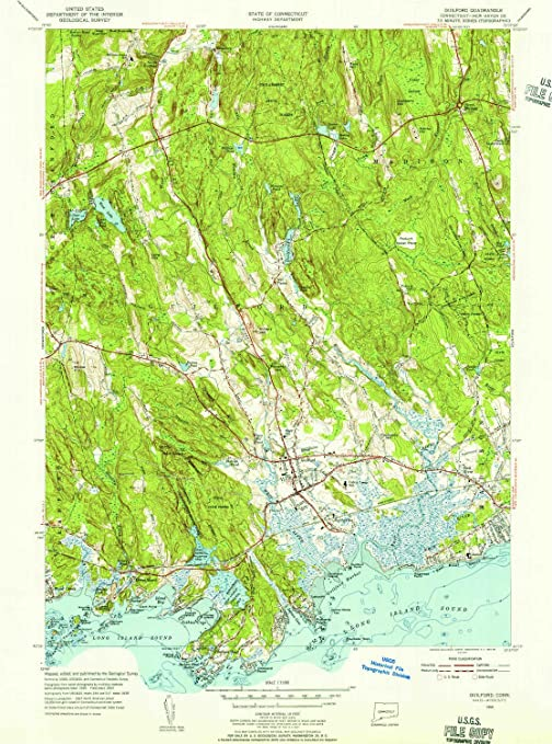 Amazon Yellowmaps Guilford Ct Topo Map 131680 Scale 75 X