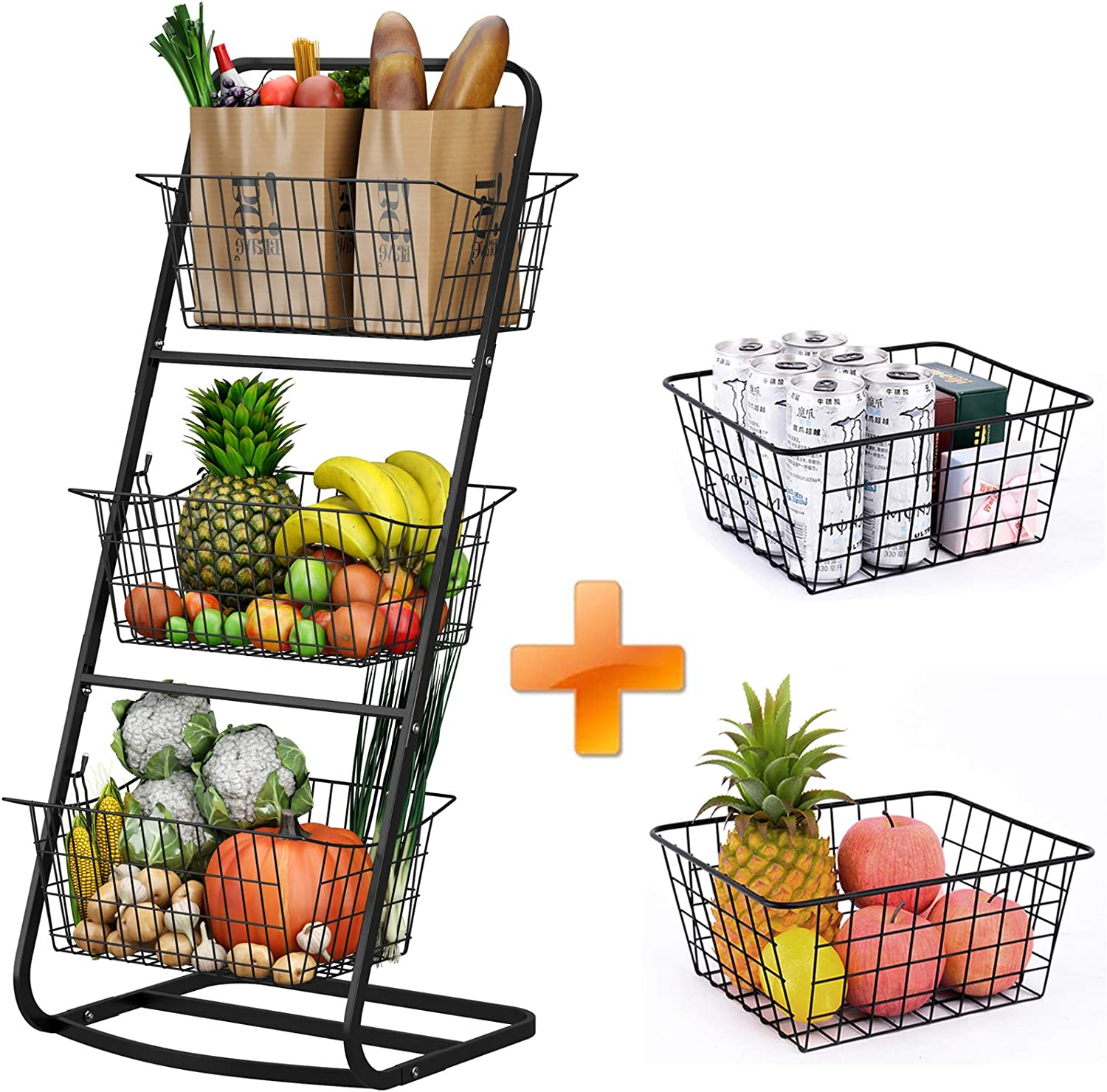 3 Tier Market Basket with 2 Wire Storage Baskets, HOWDIA Basket Fruit Stand for Kitchen, Pantry, Shelf, Laundry, Cabinets, Garage (3 Tier Basket and 2 Wire Basket)