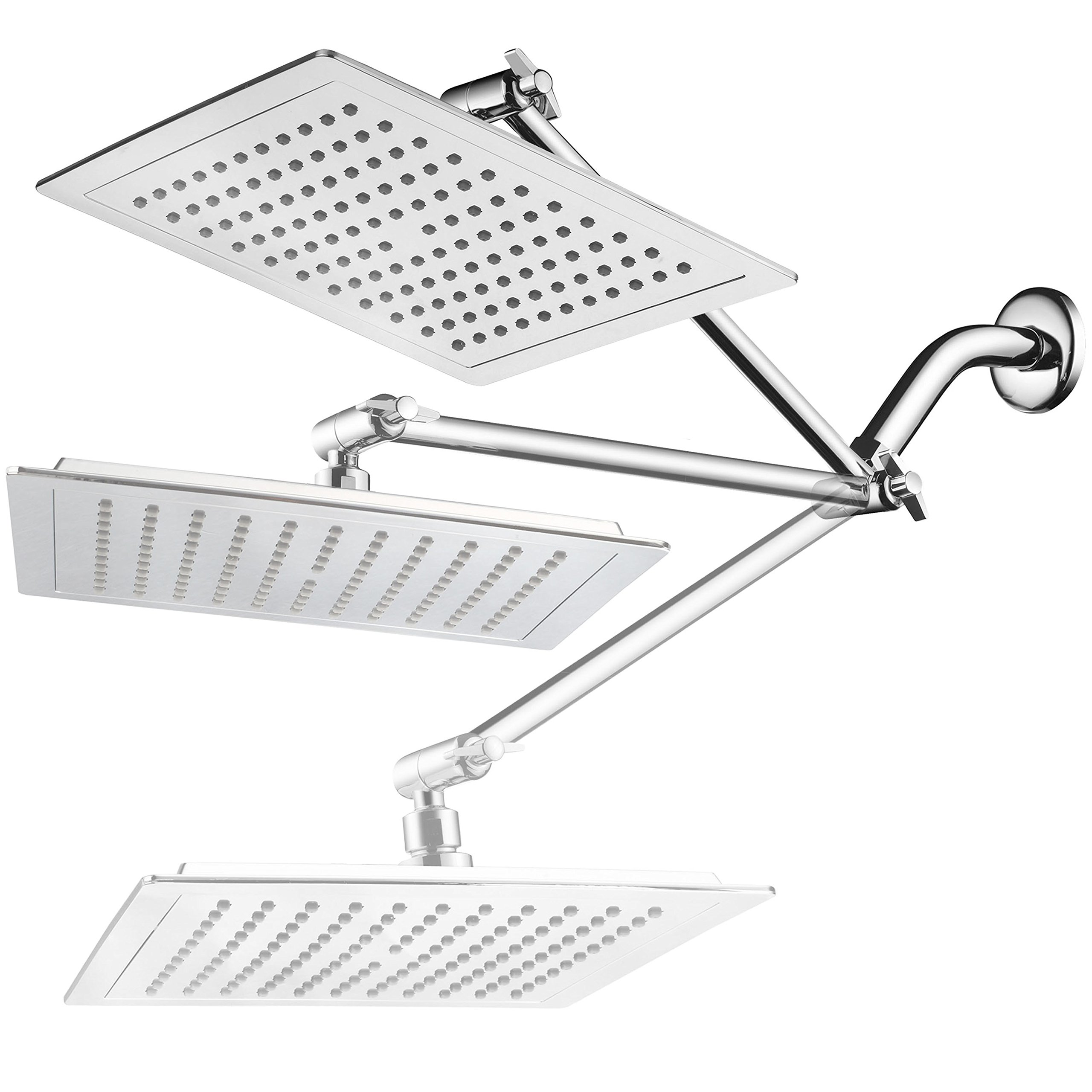 AquaSpa Giant 9-inch Diagonal Square Rain Shower Head PLUS 11-inch Solid Brass Angle Adjustable Extension Arm. 121 Jets with Rub-Clean Nozzles. Front and Back All-Chrome Finish. Sleek Square Design