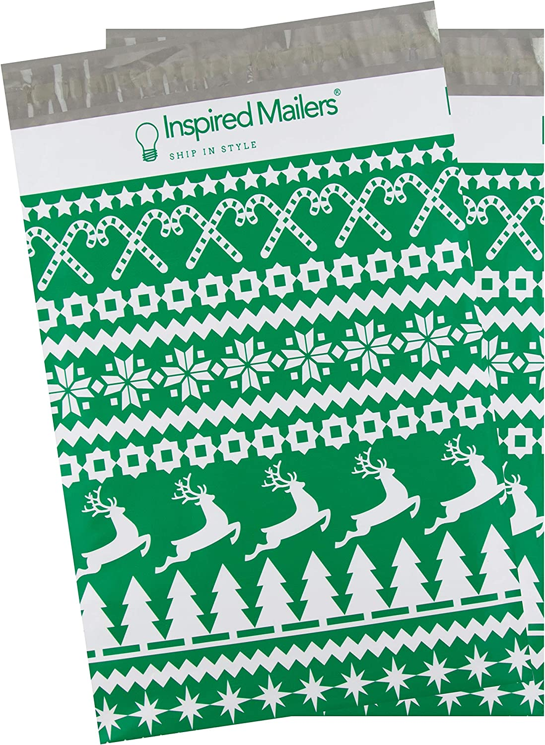 Inspired Mailers - Poly Mailers 10x13-100 Pack - Green Christmas Sweater - Holiday Shipping Bags - Mailing Envelopes - 10x13 Mailers - Packaging Bags for Shipping