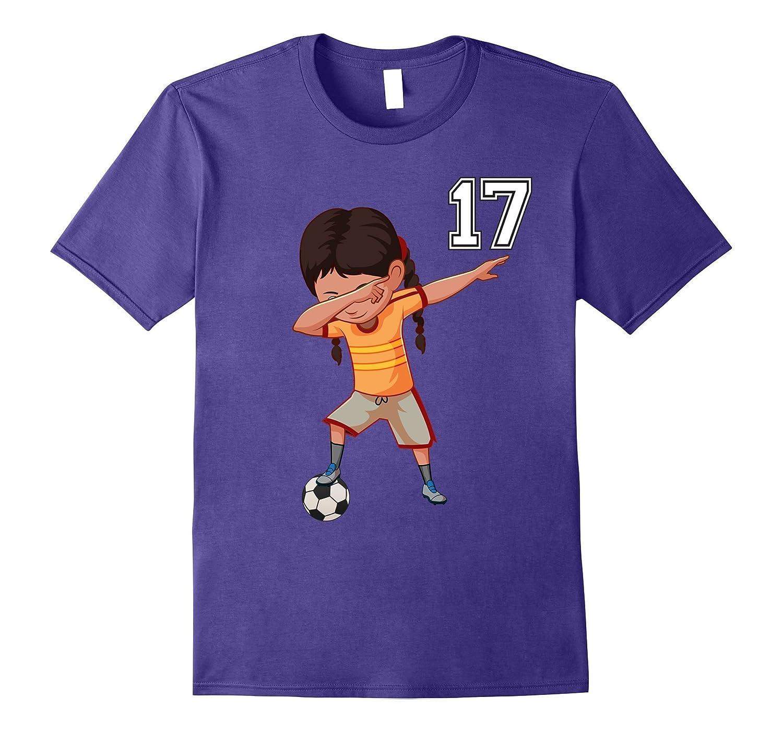 #17 Soccer Shirt Girls Funny Dabbing Dab Dance Soccer Ball-T-Shirt