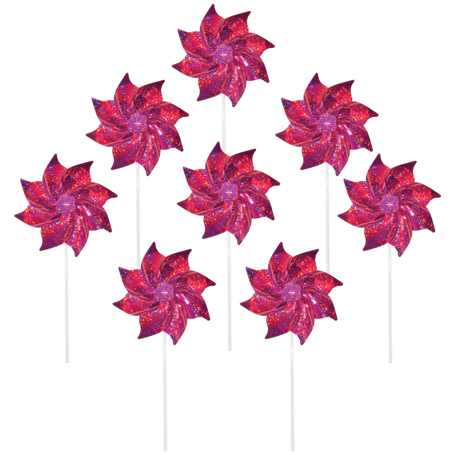 In the Breeze 2713 Sparkling Mylar Pinwheel Decorative Spinner-8 Piece Bag, Pink Sparkle/8 Pieces