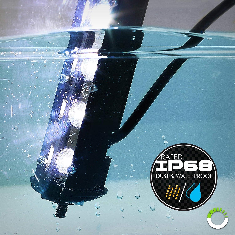 "2pc 7"" Ultra-Slim Single Row Off Road CREE LED Light Bar [1530lm] [18W] [IP68 Waterproof] [12V - 24V] Fog/Driving/Work Lights for Trucks ATV Cars - 60 Degrees Flood Light: Automotive"