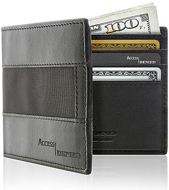 Acceso RFID - Funda de piel tipo cartera para hombre de Denied Ballistic Negro: Amazon.es: Ropa y accesorios