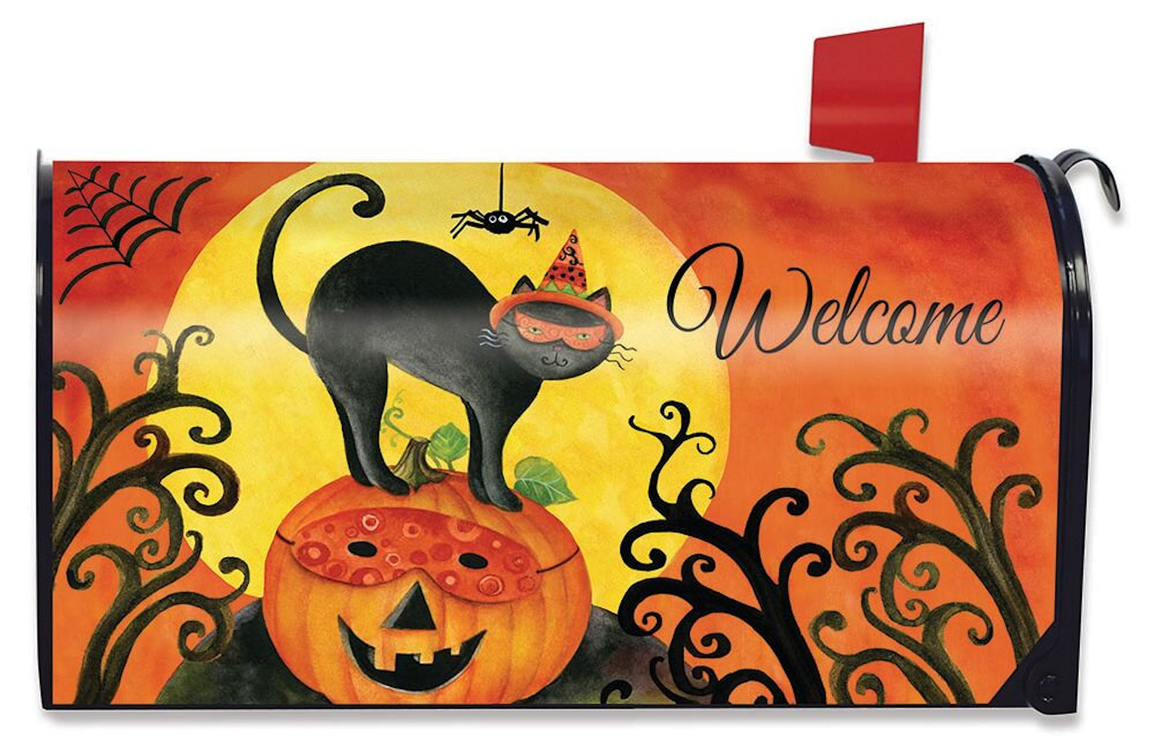Briarwood Lane Black Cat Halloween Large Mailbox Cover Primitive Jack O'Lantern Oversized