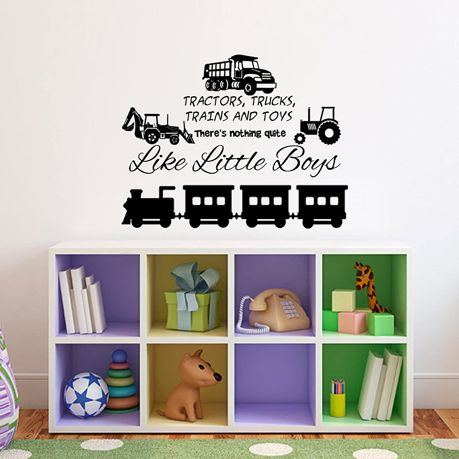 Amazon tractors trucks trains and toys theres nothing amazon tractors trucks trains and toys theres nothing quite like little boys playroomnursery wall decal black 30w x 22h home kitchen amipublicfo Gallery