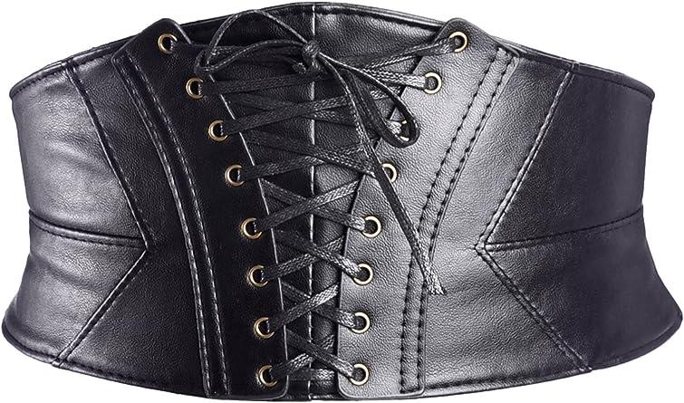 Mens Women Leather// Nylon Waist Cincher Wide Band Elastic Waspie Corset Belt UK