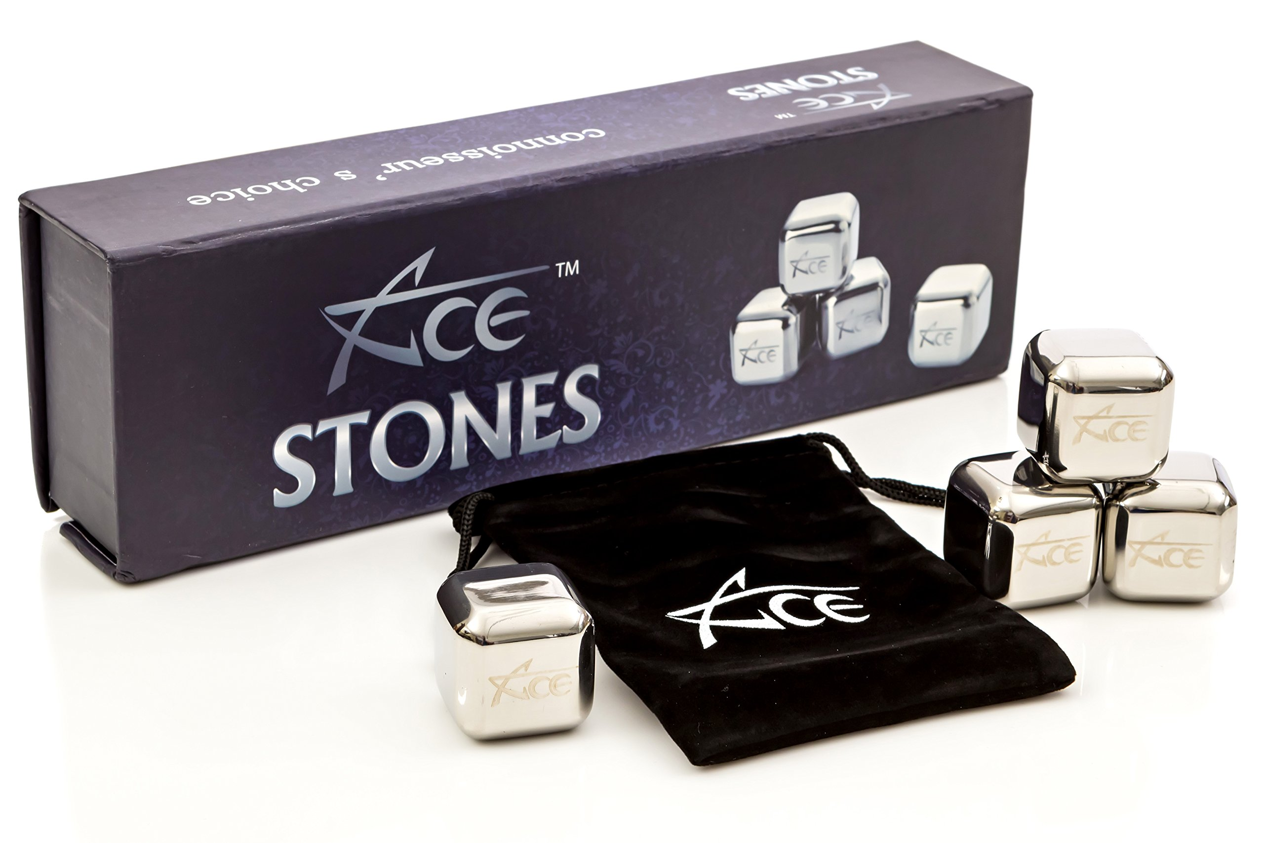 ACE Whiskey Stones - Rock Your Party With Stylish Reusable Stainless Steel Ice Cubes! Comes In Classy EVA Gift Box. See B01M9F7CYM For Tongs Option
