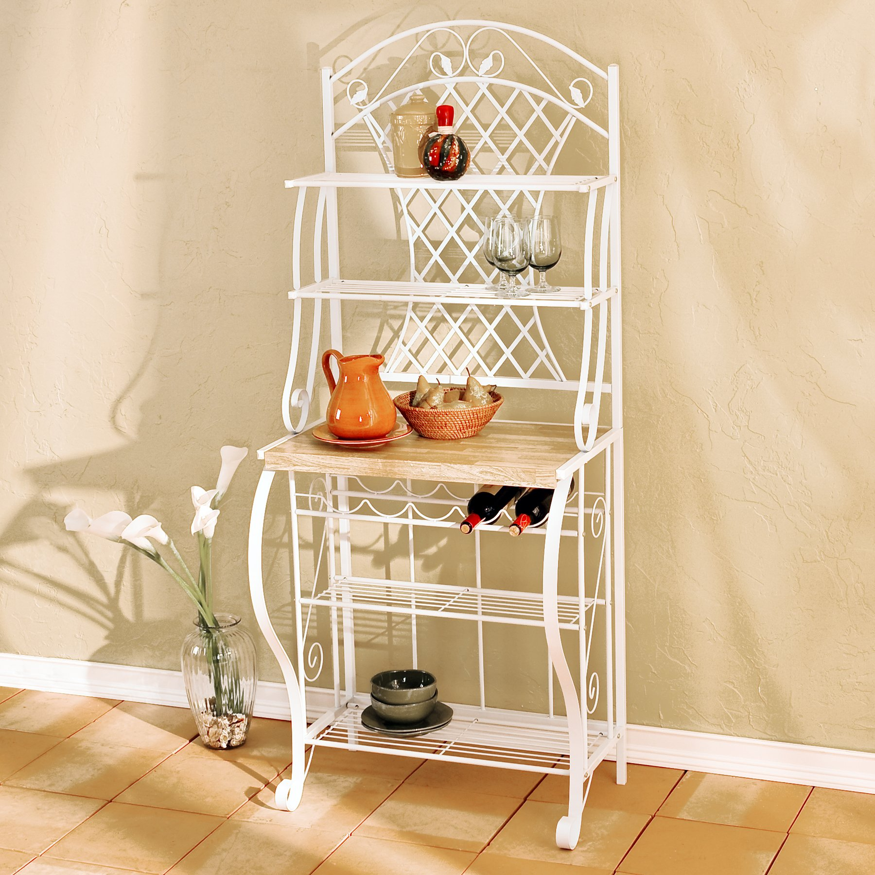 Southern Enterprises Trellis Bakers Rack with Scroll Work, White with Oak Finish by SEI (Image #3)
