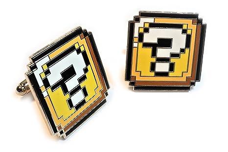 Super Mario World QUESTION BLOCK BOX Pixel SNES Suit Wedding Cuff Links CUFFLINKS Pair