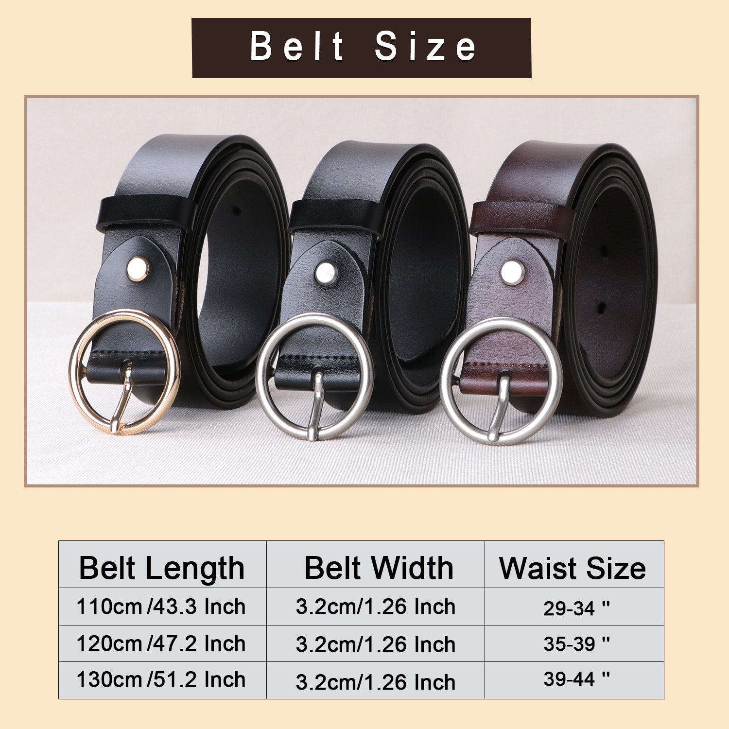 Women Black Leather Belt for Jeans,Fashion Belts for Women With Round Buckle By SUOSDEY by SUOSDEY (Image #5)