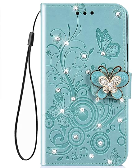 IKASEFU Compatible with iphone 7 Plus//8 Plus Case,Shiny butterfly Rhinestone Emboss Love Pu Leather Diamond Bling Wallet Strap Case with Card Holder Magnetic Flip Cover For iphone 7 Plus//8 Plus,blue