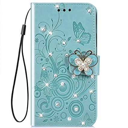 IKASEFU Compatible with iPhone 6//6S 4.7 inch butterfly Emboss blossom Floral Pu Leather Wallet Strap Case with Card Holder Magnetic Flip Cover Case,Rose Red