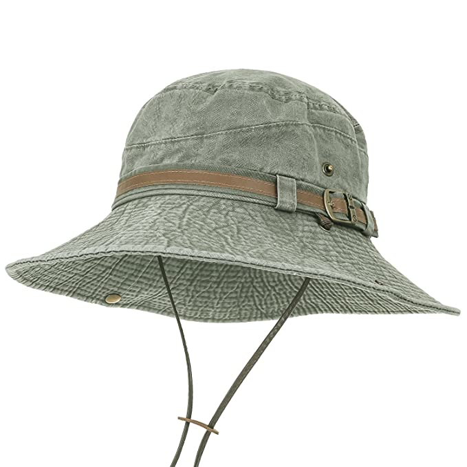 7e77e3d24bcf ililily Washed Cotton Vintage Hunting Fishing Camping Outdoor Boonie Bucket  Hat, Olive Green, Large