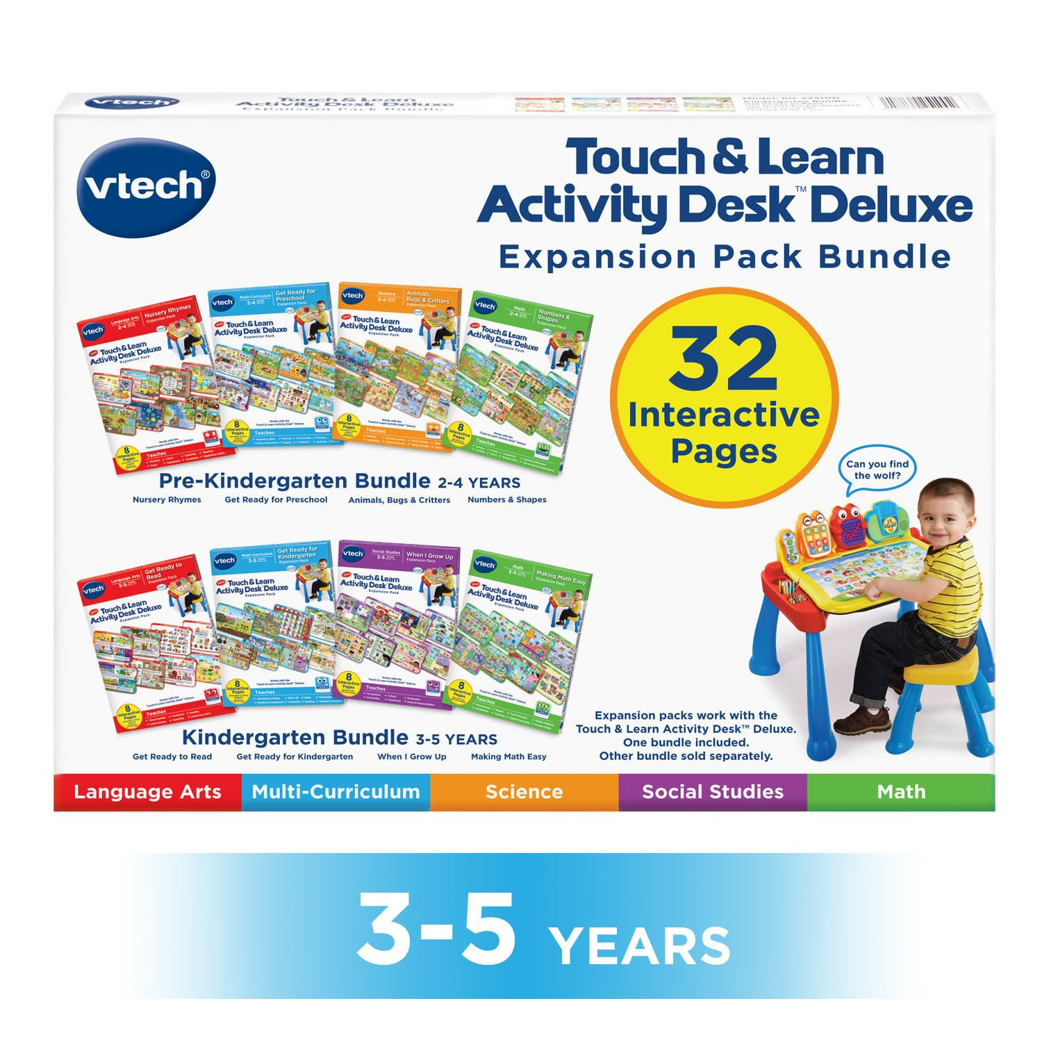 VTech Touch and Learn Activity Desk Deluxe 4-in-1 Kindergarten Bundle Expansion Pack II for Age 3-5