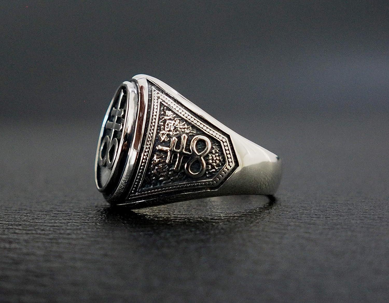 Satanic Cross Ring, Brimstone Leviathan Cross Satanic Devil Lucifer Ring  925 Sterling Silver