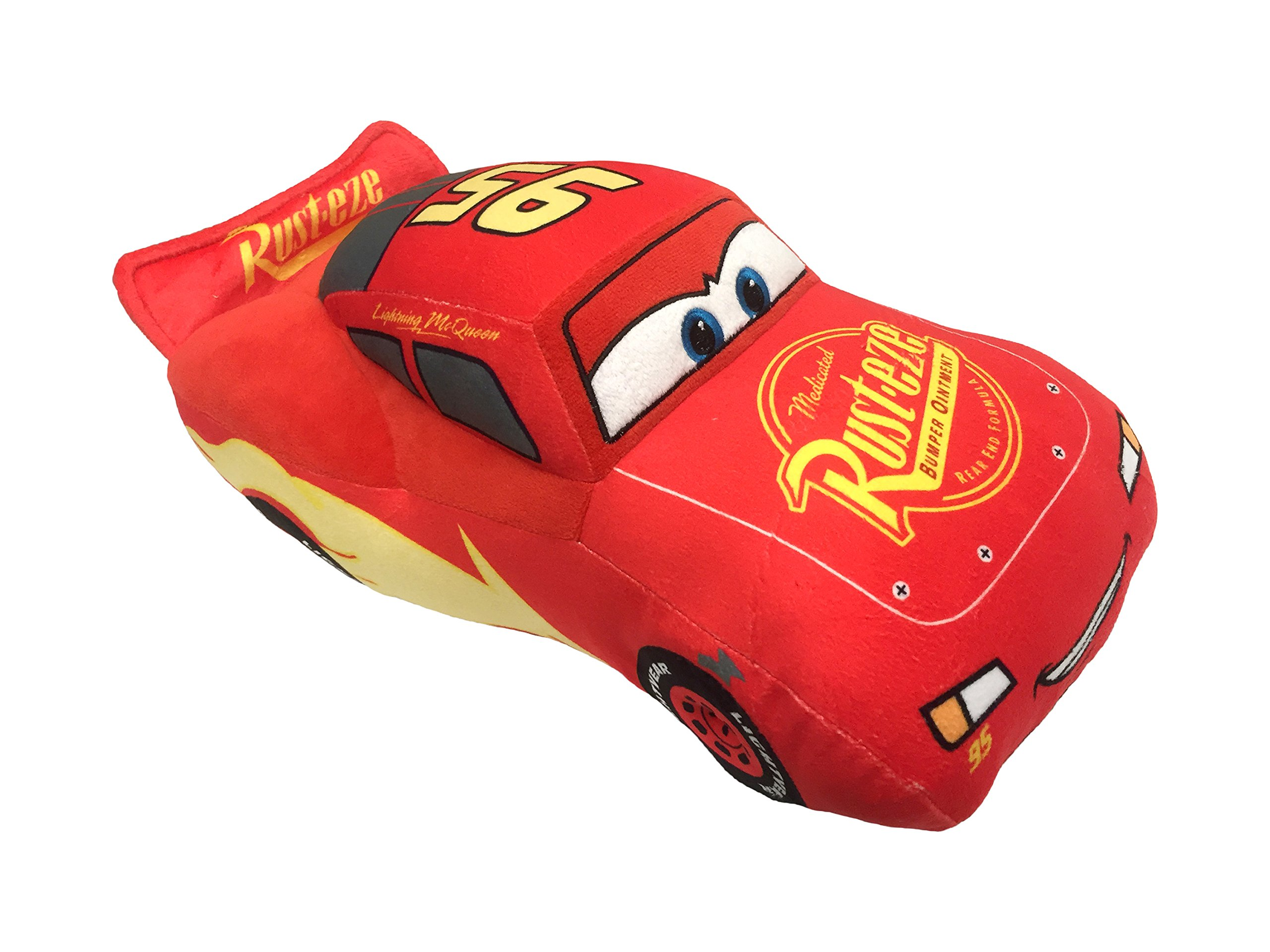 Disney Pixar Cars 3 Plush Stuffed Lightning Mcqueen Red Pillow Buddy - Kids Super Soft Polyester Microfiber, 17 inch (Official Pixar Product)