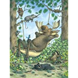 Bits and Pieces - 300 Large Piece Jigsaw Puzzle for Adults - Take It Easy - 300 pc Moose in a Hammock Jigsaw by Artist Jeffrey Severn