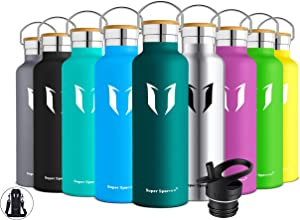 Super Sparrow Stainless Steel Vacuum Insulated Water Bottle, Double Wall Design,Standard Mouth - 500ml & 750ml - BPA Free - with 2 Exchangeable Caps + Bottle Pouch (Dark Green, 750ml-25oz)