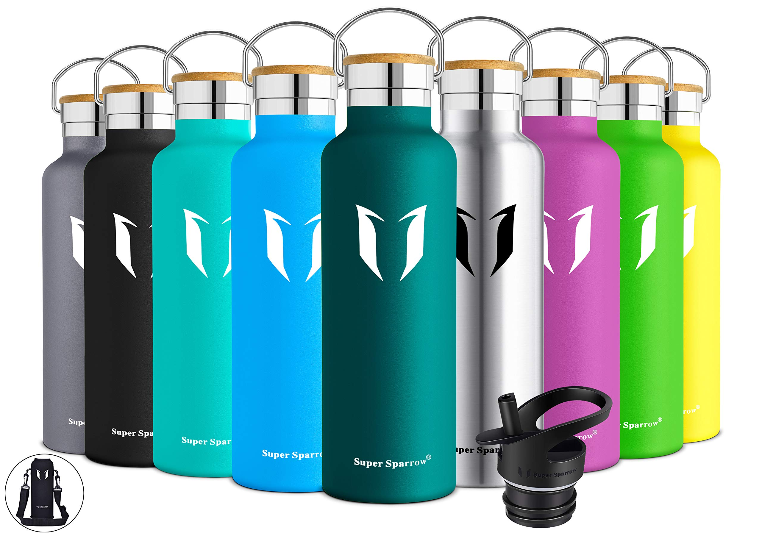 Super Sparrow Stainless Steel Vacuum Insulated Water Bottle, Double Wall Design,Standard Mouth - 500ml & 750ml - BPA Free - with 2 Exchangeable Caps + Bottle Pouch (Dark Green, 1000ml-32oz) by Super Sparrow