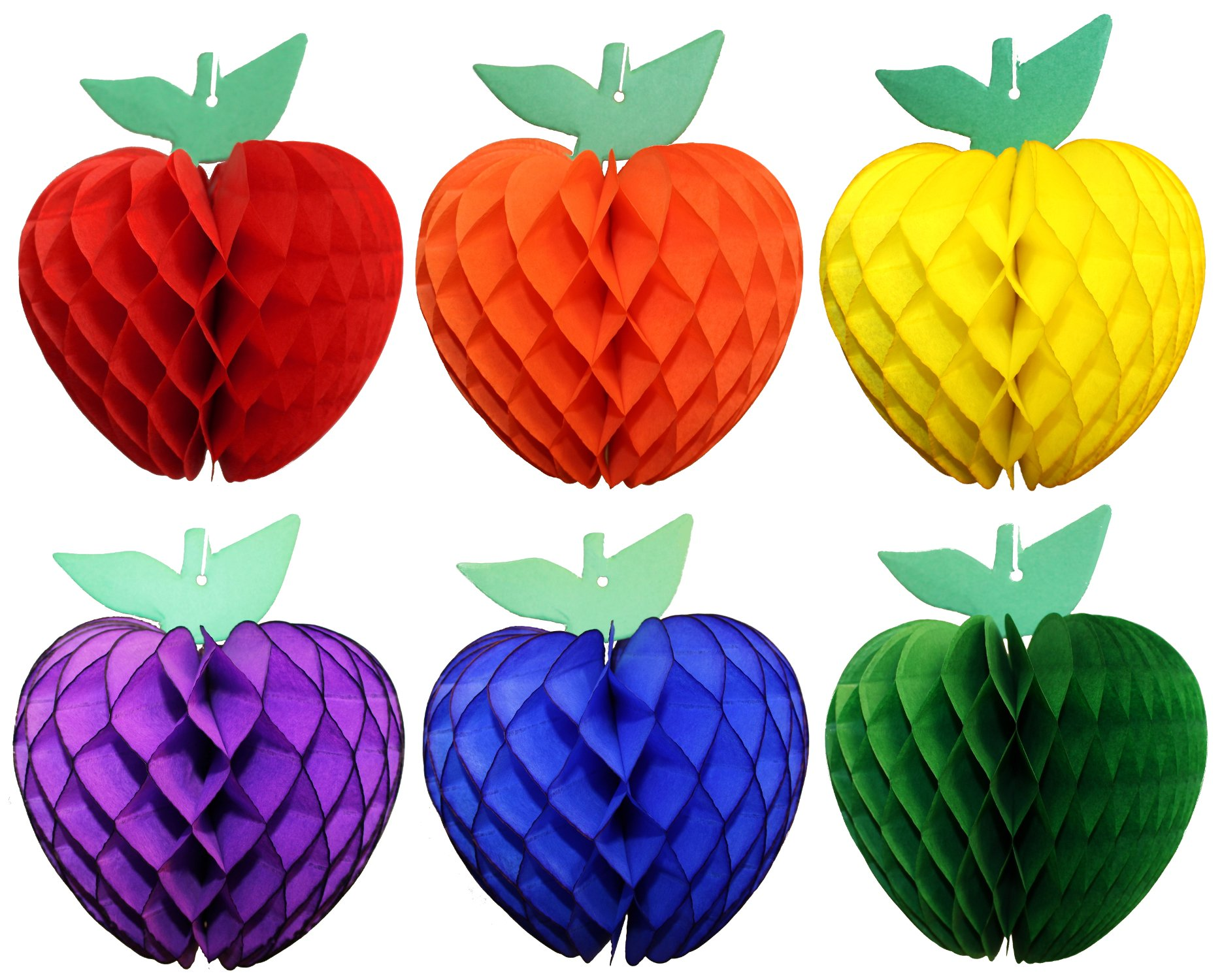 Classic Rainbow Themed 7 Inch Honeycomb Apple Fruit Party Decoration (6 apples)