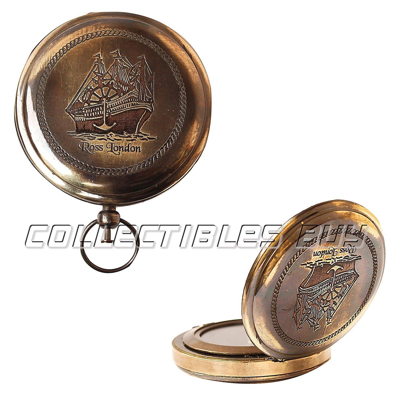 Hello Nauticals Store Nautical Rossロンドン真鍮ラウンドポケットコンパスMarine Navigationalロイヤルデバイスギフトアイテム   B07D5WW42H